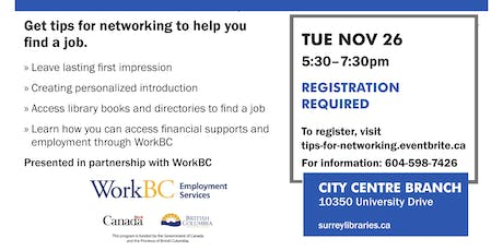 Tips for Networking Workshop - Nov. 26 tickets