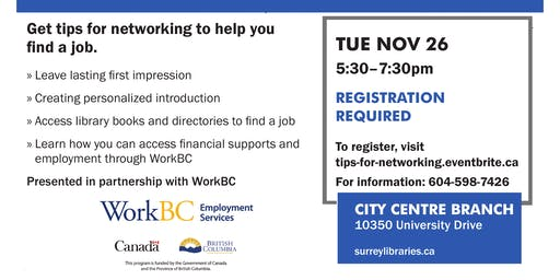 Tips for Networking Workshop - Nov. 26