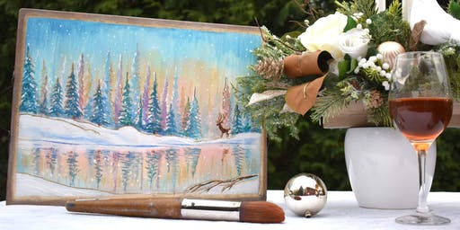 INSPIRE ME NIGHT:  Winters Landscape Painting on a Wooden Serving Tray