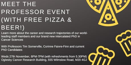 'Meet the Prof' Cancer Sciences Event with Free Pizza & Beer tickets