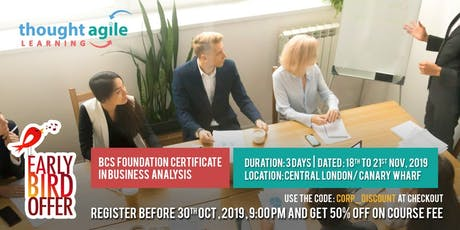 BCS Foundation Certificate in Business Analysis Training tickets