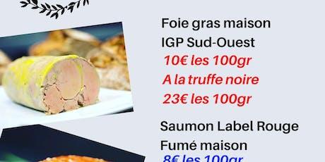Vente de foie gras, truffe, saumon fumé, champagne billets