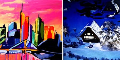 PAINTING AT NIKOLAUS: WINTER LANDSCAPE OR  SKYLINE