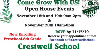 """Crestwell School """"Come GROW With Us"""" Open House Events"""