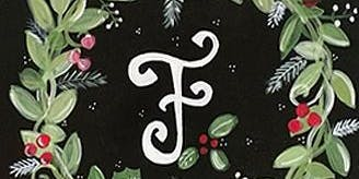 "Holiday Wreath w/Monogram on 12x12"" Black Canvas - Acrylic Painting Class"