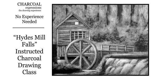 """Charcoal Drawing Event """"Hydes Mill Falls"""" in Marshfield"""