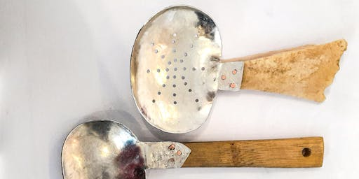 Experimental pewter spoon making.