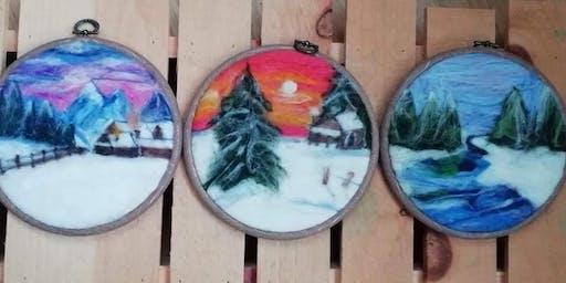 Painting with wool felt workshop  -winter scene