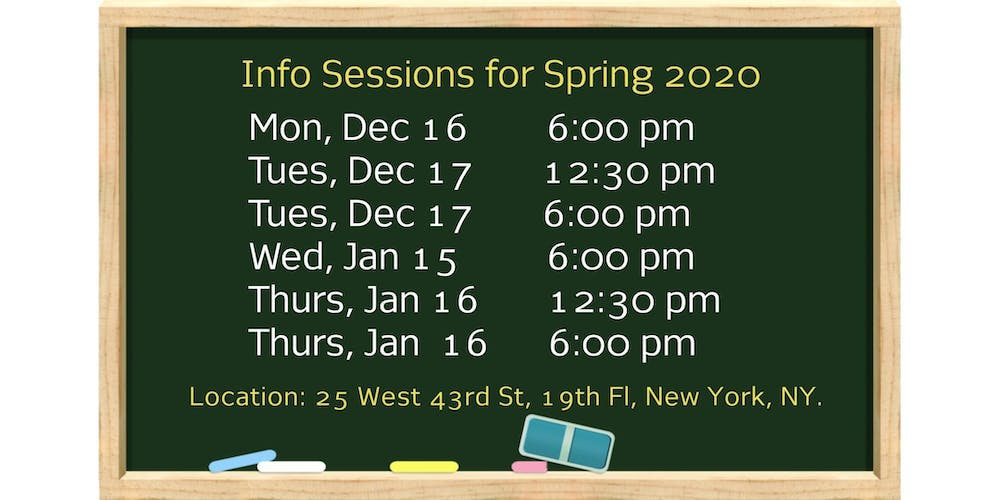 Cuny Calendar Fall 2020.Spring 2020 Info Session The Murphy Institute S Free