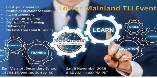 District 21 Lower Mainland Toastmasters Leadership Institute