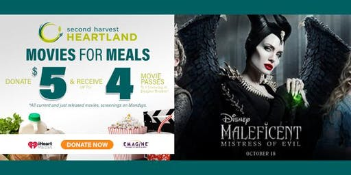 See MALEFICENT FOR FREE- Movies For Meals w/Second Harvest Heartland