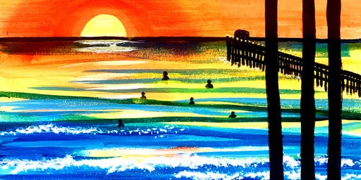 Tha last surf set at the pier Easy and Fun Beach Art Paint Night