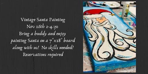 Vintage Santa Painting