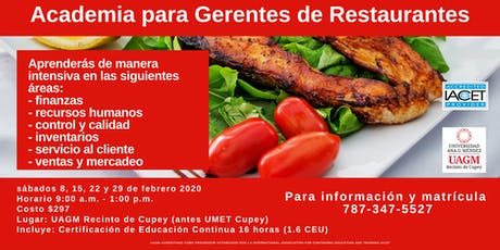 Restaurantes; Academia para Gerentes  tickets