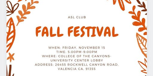 College of the Canyons ASL Club Fall Festival
