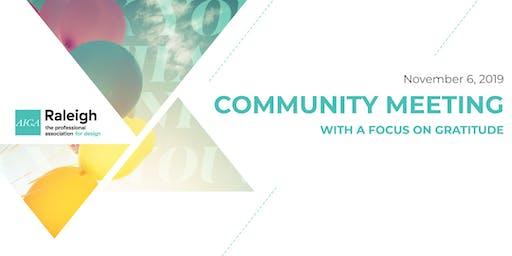 AIGA Raleigh Community Meeting | Nov 6, 2019 | Gratitude