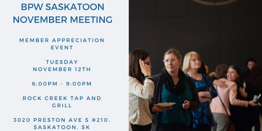 BPW Saskatoon November Meeting: Member Appreciation Event