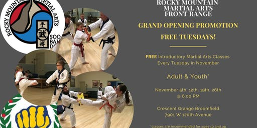 Free Tuesdays! Introductory Martial Arts Classes!