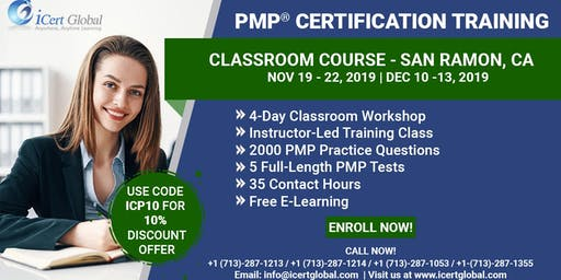 PMP Certification Training Classroom Course in San Ramon, CA