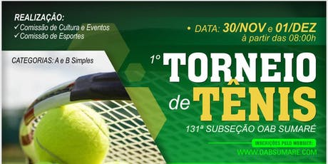 1º Torneio de Tênis - 131ª Subseção OAB Sumaré ingressos
