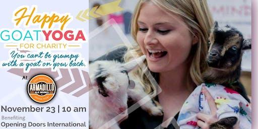 Happy Goat Yoga @ Armadillo Ale Works: Benefit Survivors of Human Trafficking