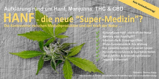 """Informations- & Vortragsabend HANF - die neue """"Super-Medizin""""?"""