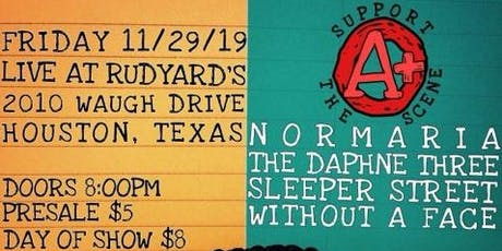 Normaria / The Daphne Three / Sleeper Street / Without A Face tickets
