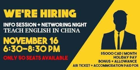 TECFL (Teach English In China) Info Session + Networking Night