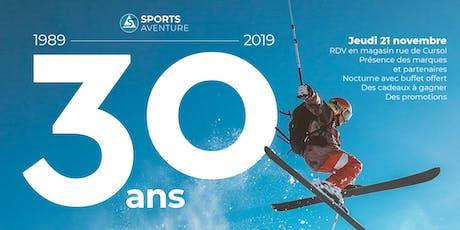 Buffet Offert - Nocturne 21 Novembre pour les 30 ans de Sports Aventure billets