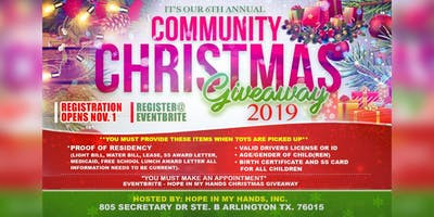 2019 Hope In My Hands Community Christmas Giveaway