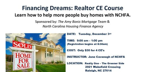 Realtor CE Class 'Financing Dreams' North Carolina Housing Finance Agency