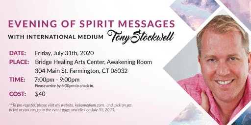 Evening of Spirit Messages with International Medium Tony Stockwell