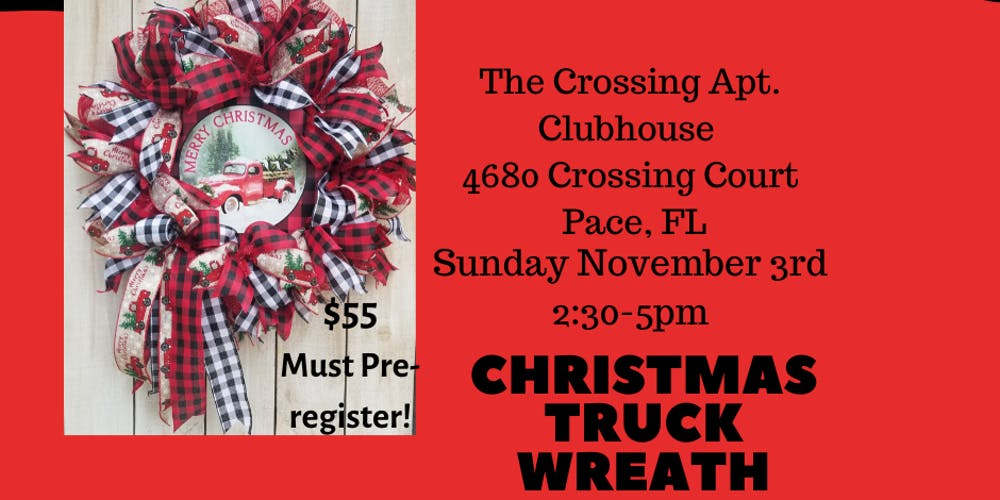 Red Christmas.Red Christmas Truck Wreath Class