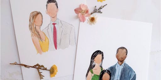 Holiday Watercolor Portraits with Chasing Linen - South Coast Plaza