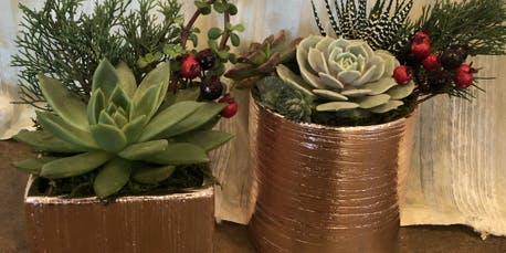 Holiday Sip & Shop Succulent Workshop