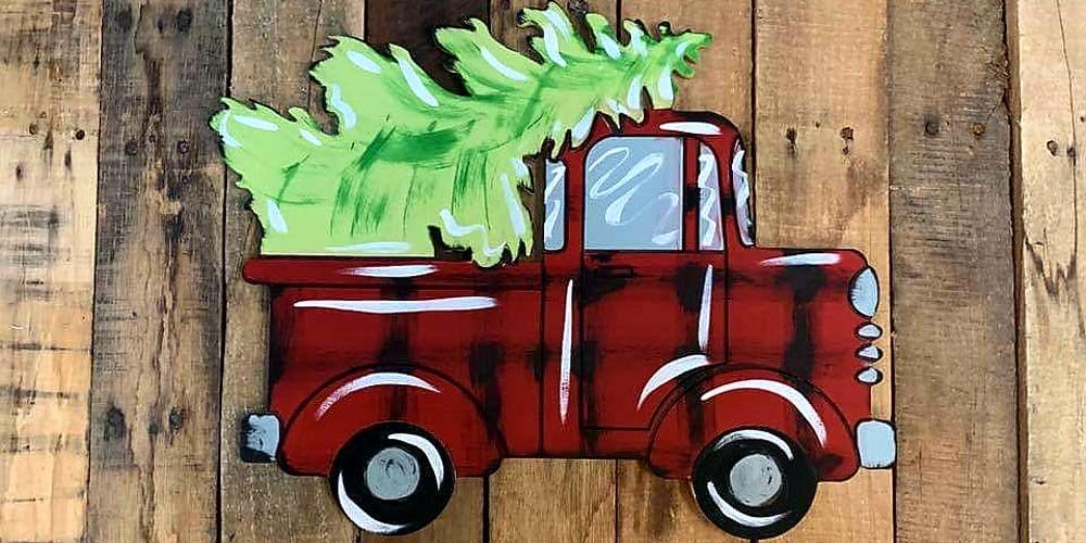 Red Christmas Truck.Let S Paint A Red Christmas Truck Door Hanger
