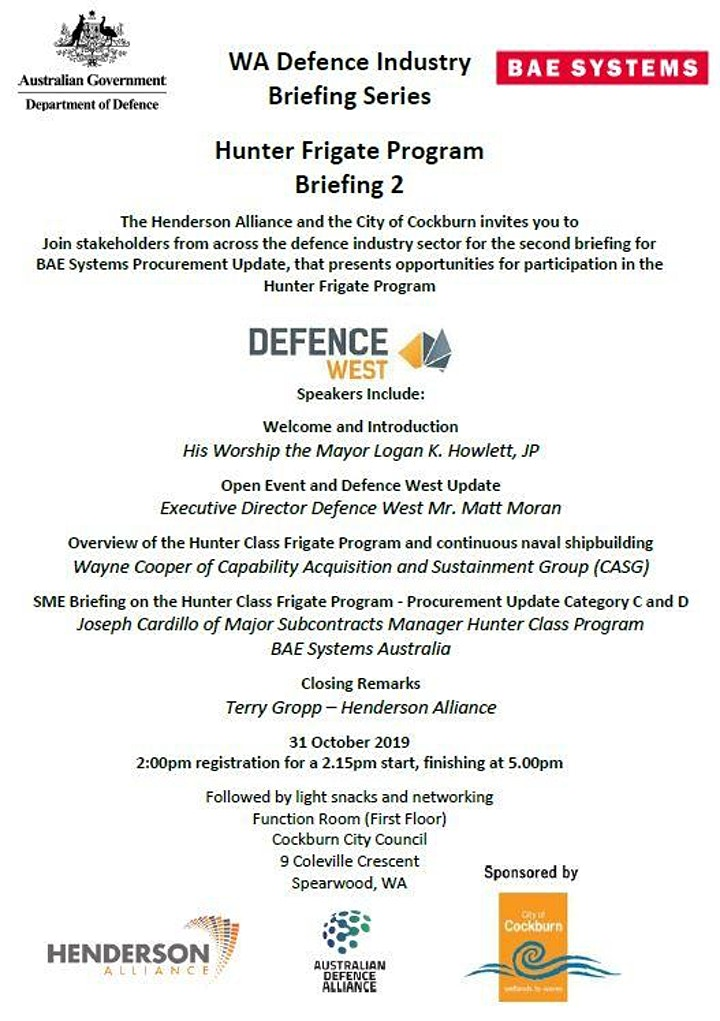 WA Defence Industry Briefing Series #3 image