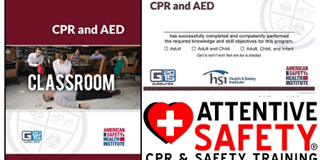 CPR and AED Class, $65, Same day ASHI card. tickets