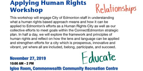 Applying Human Rights  Workshop - For City of Edmonton Staff tickets