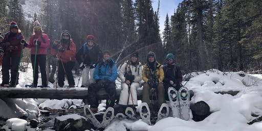 Women's Brainard cabin snowshoe adventure hike