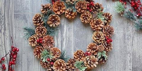 Holiday Pine Cone Wreath Making
