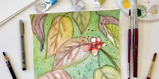 Ink & Watercolor Red Berries