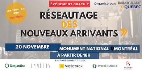 """Réseautage de bienvenue """"nouveaux arrivants à Montréal"""" -  20 Novembre billets"""