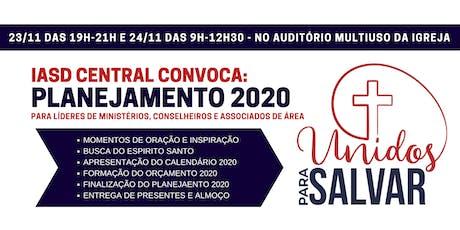 PLANEJAMENTO IASD CENTRAL 2020 - Para Líderes de Ministérios ingressos