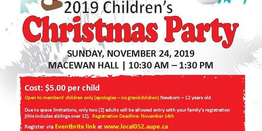 AUPE Local 52's Annual Children's Christmas Party 2019