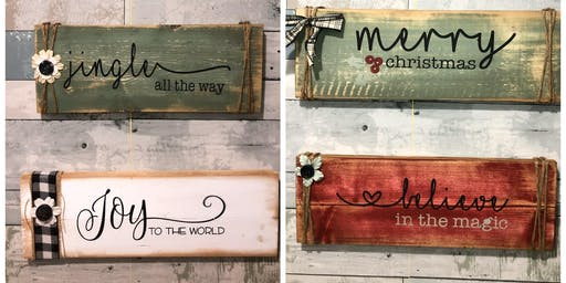Set of Christmas Pallet Signs- Flushing