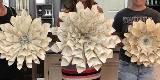 Handmade Book Page Wreath- Flushing