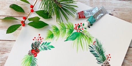 Holiday Watercolor Wreath (Speckled Hen) tickets