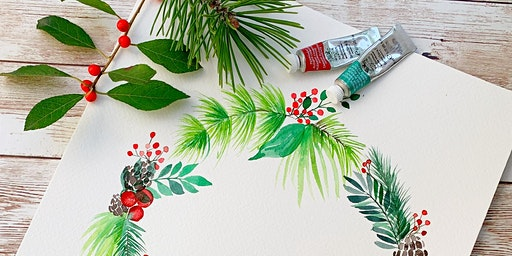 Holiday Watercolor Wreath (Speckled Hen)