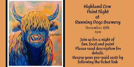 Highland Cow Paint Night at Running Dogs Brewery